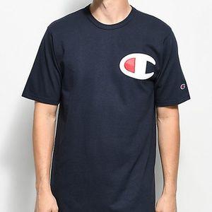 NWT Champion Big C Logo Navy Blue Short Sleeve Tee